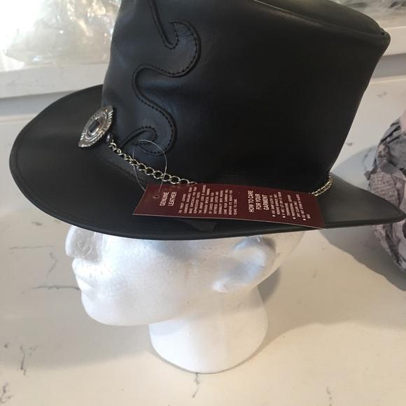 TOP HAT STEAMPUNK GENUINE LEATHER STEAMPUNK TOP HAT WITH SKULLS DEADMAN